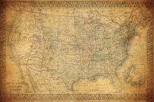 Vintage Map of United States 1867 by javarman