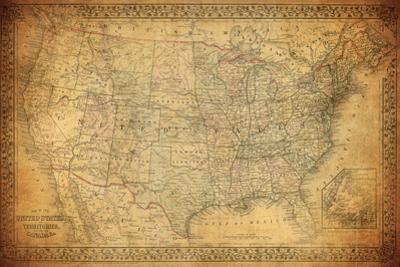 Vintage Map of United States 1867 by javarman
