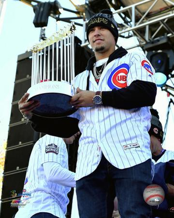Javier Baez holds World Series Championship Trophy at victory parade 11/4/16, Grant Park in Chicago