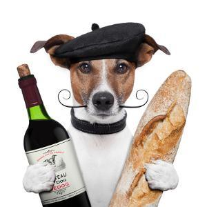 French Dog Wine Baguete Beret by Javier Brosch