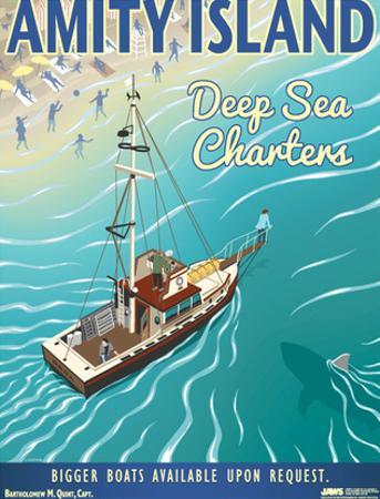 Jaws - Amity Island Deep Sea Charters Vintage Travel Lithograph