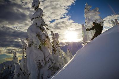 A Young Male Skier Makes Some Late Day Turns in the Mount Baker Backcountry of Washington