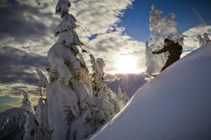 A Young Male Skier Makes Some Late Day Turns in the Mount Baker Backcountry of Washington by Jay Goodrich