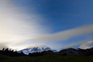Clearing Weather System Highlights Cloud Cover, Mt Rainier NP, WA, Stars Shine After Sunset by Jay Goodrich