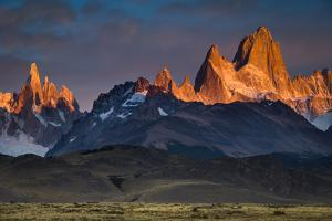 First Light Hits Cerro Torre And Mount Fitz Roy In Los Glacieres National Park, Argentina by Jay Goodrich