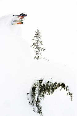 Skier Goes Huge During A Blizzard At Mt Baker Ski Area by Jay Goodrich