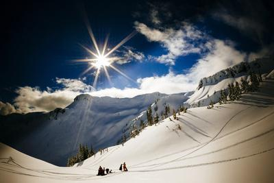 Skiers Collect their Gear and Get Ready for Another Run in the Mt Baker Backcountry of Washington