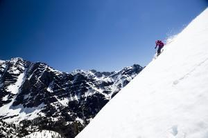 Skiing A Backcountry Line In Glacier National Park by Jay Goodrich