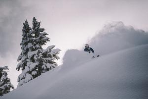 Skiing A Powder Haven During Winter Whiteout, Backcountry Near Mt Baker Ski Area, Washington State by Jay Goodrich