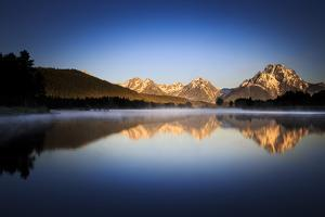 Sunrise Reflection Of Mt Moran Along Still Waters Of Oxbow Bend In Grand Teton NP, Wyoming by Jay Goodrich