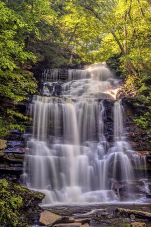Pennsylvania, Benton, Ricketts Glen State Park. Ganoga Falls Cascade by Jay O'brien