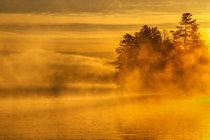 USA, New York, Adirondack Mountains. Morning Mist on Raquette Lake by Jay O'brien