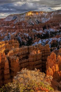 USA, Utah, Bryce Canyon National Park. Fall Snow on Rock Formations by Jay O'brien