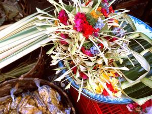 Canang Sari, Traditional Balinese Daily Offering, Ubud, Bali, Indonesia by Jay Sturdevant