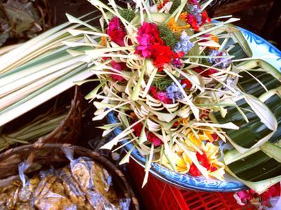 Canang Sari, Traditional Balinese Daily Offering, Ubud, Bali, Indonesia