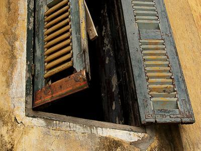 Shutters on Old Building, Kratie, Cambodia