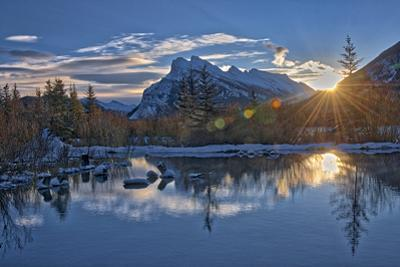 Canada, Alberta, Banff National Park. Mount Rundle and Vermillion Lakes at sunrise. by Jaynes Gallery