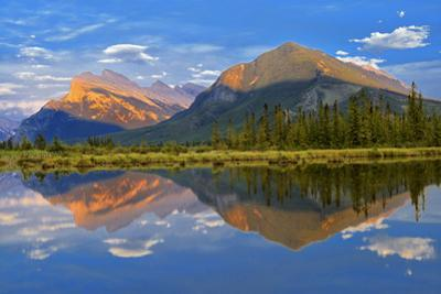 Canada, Alberta, Banff National Park. Mt. Rundle and Sulphur Mountain reflection in Vermillion Lake by Jaynes Gallery