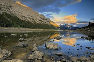 Canada, Alberta, Jasper National Park. Colin Range reflection in Medicine Lake at sunset. by Jaynes Gallery