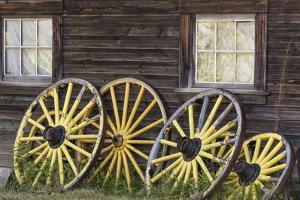 Canada, British Columbia, Barkerville. Wagon wheels. by Jaynes Gallery