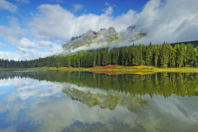 Canada, British Columbia, Mt. Robson Provincial Park. Whitney Lake and mountain shrouded in cloud. by Jaynes Gallery