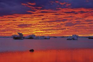 Canada, Manitoba, Churchill. Ice floes on Hudson Bay at sunset. by Jaynes Gallery