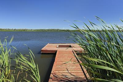 Canada, Manitoba, Saint Leon. Wooden dock on Lake St. Leon. by Jaynes Gallery