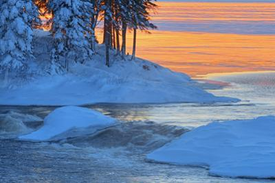 Canada, Manitoba, Sasagiu Rapids. Sunset on Setting Lake in winter. by Jaynes Gallery