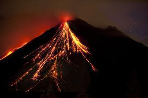 Caribbean, Costa Rica. Mt. Arenal erupting with molten lava by Jaynes Gallery
