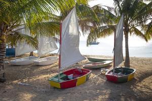 Caribbean, Grenada, Mayreau Island. Sailboats on beach. by Jaynes Gallery