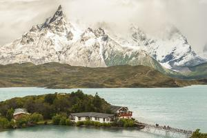 Chile, Patagonia. Lake Pehoe Lodge and The Horns mountains. by Jaynes Gallery