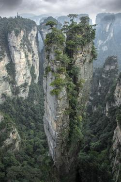 China, Hunan Province, Tianzi Mountains. Sunrise on mountain landscape. by Jaynes Gallery