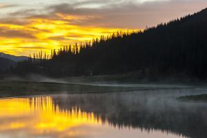 Colorado, Rocky Mountain National Park. Foggy Sunrise on Poudre Lake by Jaynes Gallery