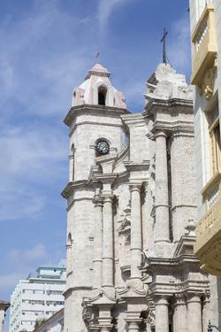 Cuba, Havana, Old Havana. Clock tower of church in Cathedral Plaza. by Jaynes Gallery