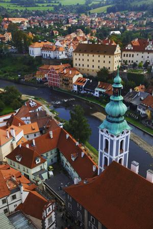 Czech Republic, Cesky Krumlov. Overview of city and river. by Jaynes Gallery