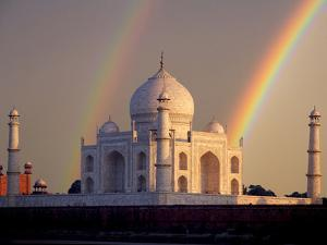 Double Rainbow over Taj Mahal Mausoleum, Agra, India by Jaynes Gallery