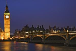 England, London. Big Ben and Westminster Bridge over River Thames. by Jaynes Gallery