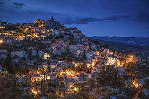 Europe, France, Gordes. Hillside town at twilight. by Jaynes Gallery