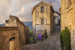 Europe, France, Lacoste. Street scene at sunrise. by Jaynes Gallery