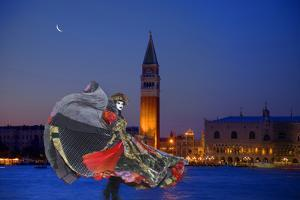 Europe, Italy, Venice. Composite of Woman in Carnival Costume and San Marco Square by Jaynes Gallery