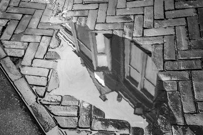 Europe, Netherlands, The Hague. Black and white of buildings reflected in sidewalk rain puddle.