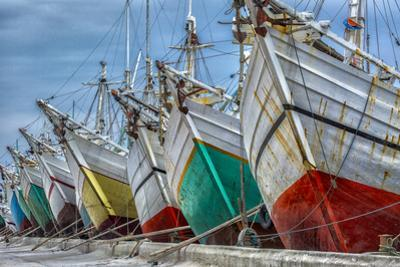 Indonesia, Jakarta, Old Harbor. Moored boats. by Jaynes Gallery