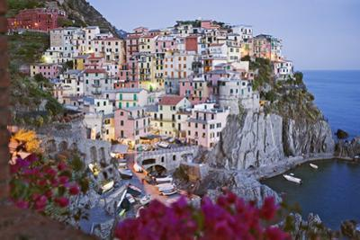 Italy, Manarola. Town and sea at sunset by Jaynes Gallery