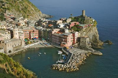 Italy, Vernazza. Overview of town and ocean by Jaynes Gallery