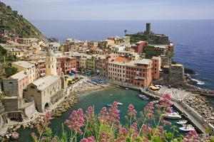 Italy, Vernazza. Overview of town and ocean. by Jaynes Gallery