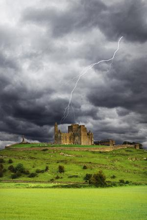Lightning over Ruins of the Rock of Cashel, Tipperary County, Ireland
