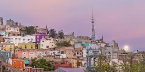 Mexico, Guanajuato. Moonset over the City by Jaynes Gallery