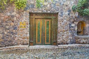 Mexico, San Miguel De Allende. Quaint Doorway in Stone Wall Facade by Jaynes Gallery