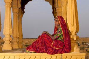 Native Woman, Tombs of the Concubines, Jaiselmer, Rajasthan, India by Jaynes Gallery