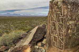 New Mexico, Three Rivers Petroglyphs National Historic Site. Petroglyphs on Boulder by Jaynes Gallery